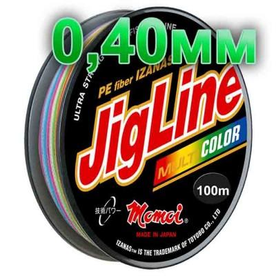 Jigline Multicolor braided cord; 0.40 mm; 40.0 kg test; length 100 m, article 00014600079, production Momoi Fishing (Япония)