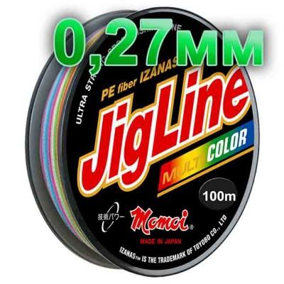 Jigline Multicolor braided cord; 0.27 mm; test 20.0 kg; length 100 m, article 00014600082, production Momoi Fishing (Япония)