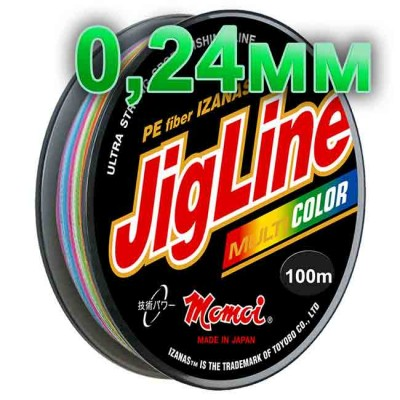 Jigline Multicolor braided cord; 0.24 mm; test 17.0 kg; length 100 m, article 00014600083, production Momoi Fishing (Япония)