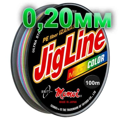 Jigline Multicolor braided cord; 0.20 mm; 14.5 kg test; length 100 m, article 00014600084, production Momoi Fishing (Япония)