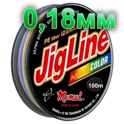 Jigline Multicolor braided cord; 0.18 mm; 13.0 kg test; length 100 m, from: Momoi Fishing (Япония)