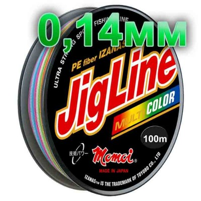 Jigline Multicolor braided cord; 0.14 mm; test 9.1 kg; length 100 m, article 00014600087, production Momoi Fishing (Япония)