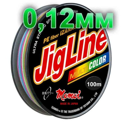 Jigline Multicolor braided cord; 0.12 mm; test 8.0 kg; length 100 m, article 00014600088, production Momoi Fishing (Япония)