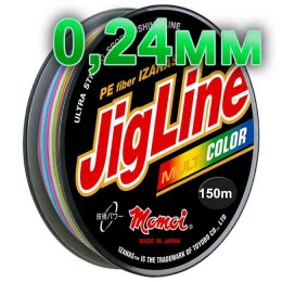 Jigline Multicolor braided cord; 0.24 mm; test 17.0 kg; length 150 m