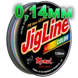 Jigline Multicolor braided cord; 0.14 mm; test 9.1 kg; length 150 m