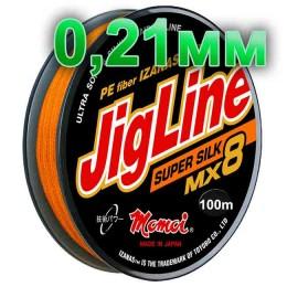 Braided cord JigLine Mx8 Super Silk oranzh; 0.21 mm; 18 kg test; length 100 m