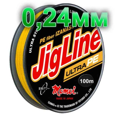 Pletenka JigLine Ultra PE; 0.24 mm; 18 kg test; length 100 m, article 00015300102, production Momoi Fishing (Япония)