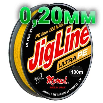 Pletenka JigLine Ultra PE; 0.20 mm; 16 kg test; length 100 m, article 00015300103, production Momoi Fishing (Япония)