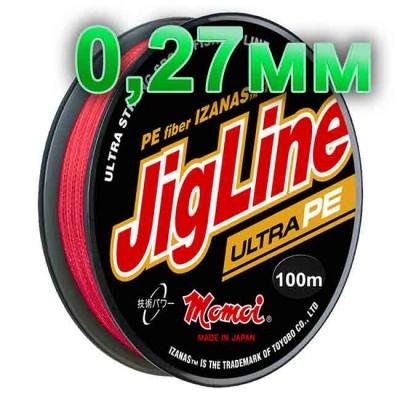 Pletenka JigLine Ultra PE; 0.27 mm; test 22 kg; length 100 m, article 00015400109, production Momoi Fishing (Япония)