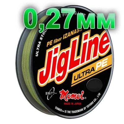 Pletenka JigLine Ultra PE; 0.27 mm; test 22 kg; length 100 m, from: Momoi Fishing