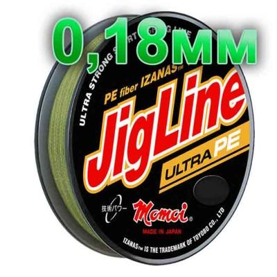 Pletenka JigLine Ultra PE; 0.18 mm; 14 kg test; length 100 m, article 00015500096, production Momoi Fishing (Япония)
