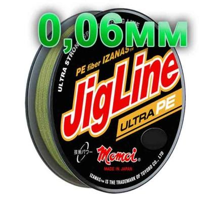 Pletenka JigLine Ultra PE; 0.06 mm; test 4.8 kg; length 100 m, article 00015500103, production Momoi Fishing (Япония)