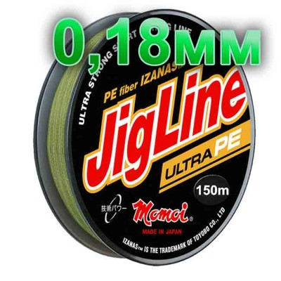 Pletenka JigLine Ultra PE; 0.18 mm; 14 kg test; length 150 m, article 00015600096, production Momoi Fishing (Япония)