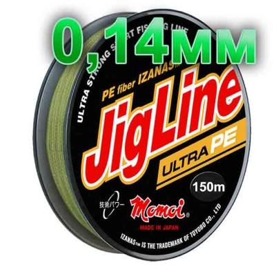 Pletenka JigLine Ultra PE; 0.14 mm; test 10 kg; length 150 m, article 00015600098, production Momoi Fishing (Япония)