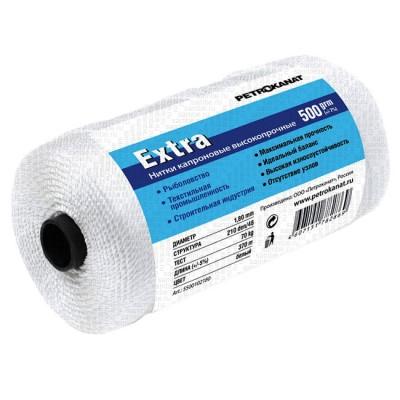 Thread kapron white Extra, reel 500 grams 0.70mm, 210d / 6, from: NoBrend (Китай)
