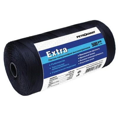 Thread kapron black Extra, reel 500 grams, 0.80 mm, 210d / 12, from: NoBrend (Китай)