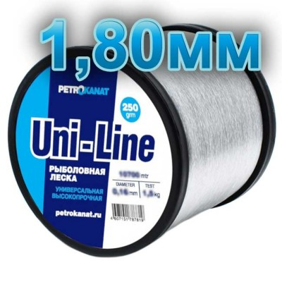 Fishing line UniLine; 1.8 mm; 110 kg test; weight 250 gr. length - 80 m., article 00063400167, production Петроканат (Россия)