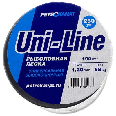 Fishing line UniLine; 1.2 mm; 58 kg test; weight 250 gr. length - 190 m., article 00063400169, production Петроканат (Россия)