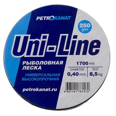 Fishing line UniLine; 0.40 mm; 8.5 kg test; weight 250 gr. length - 1700 m., from: Петроканат (Россия)