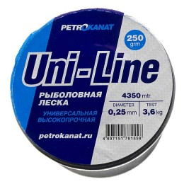 Fishing line UniLine; 0.25 mm; test 3.6 kg; weight 250 gr. length - 4350 m.