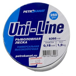 Fishing line UniLine; 0.18 mm; test 1.9 kg; weight 250 gr. length - 8394 m.