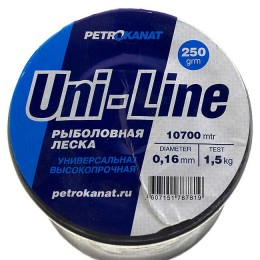 Fishing line UniLine; 0.16 mm; 1.2 kg test; weight 250 gr. length - 10620 m.