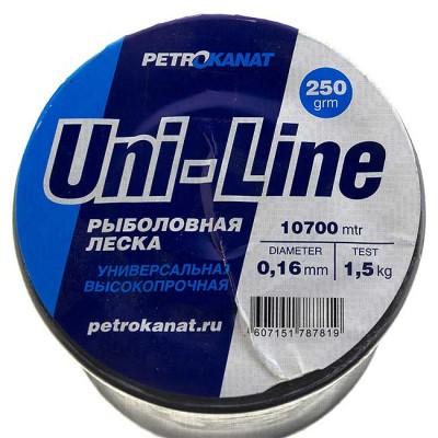 Fishing line UniLine; 0.16 mm; 1.2 kg test; weight 250 gr. length - 10620 m., from: Петроканат (Россия)