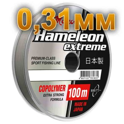 Fishing line Hameleon Extreme; 0.31 mm; test 10 kg; length 100 m, article 00063500172, production Momoi Fishing (Япония)