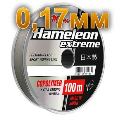 Fishing line Hameleon Extreme; 0.17 mm; test of 3.5 kg; length 100 m, article 00063500186, production Momoi Fishing (Япония)