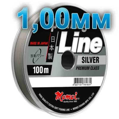 Fishing line Spinning Silver; 1,00 mm; 70 kg test; length 100 m, article 00063600129, production Momoi Fishing (Япония)