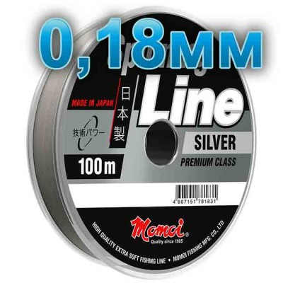 Fishing line Spinning Silver; 0.16 mm; 3.0 kg test; length 100 m, article 00063600137, production Momoi Fishing (Япония)