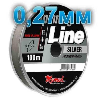 Fishing line Spinning Silver; 0.27 mm; test 8.0 kg; length 100 m, article 00063600141, production Momoi Fishing (Япония)
