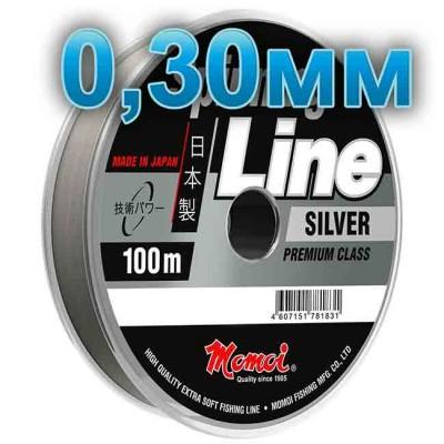Fishing line Spinning Silver; 0.30 mm; test 10 kg; length 100 m, article 00063600142, production Momoi Fishing (Япония)