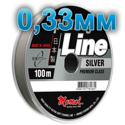 Fishing line Spinning Silver; 0.33 mm; test 12 kg; length 100 m, article 00063600143, production Momoi Fishing (Япония)