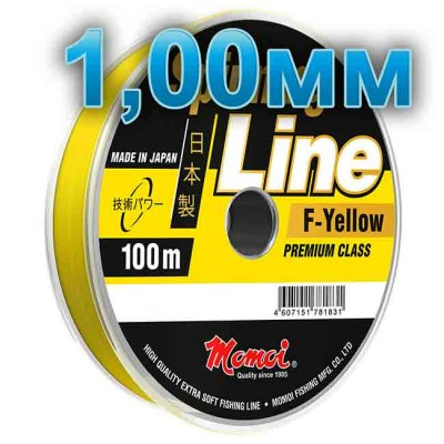Fishing line Spinning Line F-Yellow; 1.0 mm; 70 kg test; length 100 m, from: Momoi Fishing (Япония)