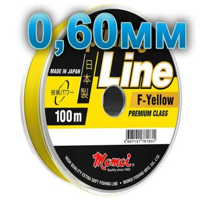 Fishing line Spinning Line F-Yellow; 0.60 mm; 30 kg test; length 100 m, article 00063700125, production Momoi Fishing (Япония)