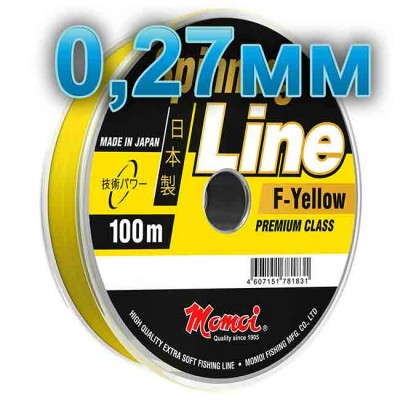 Fishing line Spinning Line F-Yellow; 0.27 mm; test 8.0 kg; length 100 m, article 00063700131, production Momoi Fishing (Япония)