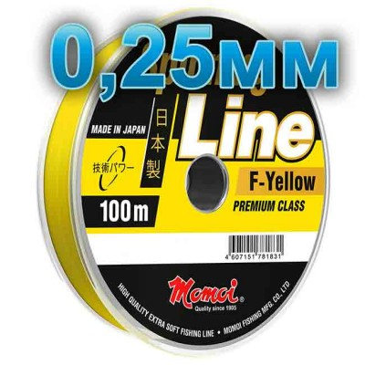 Fishing line Spinning Line F-Yellow; 0.25 mm; test 7.0 kg; length 100 m, article 00063700132, production Momoi Fishing (Япония)