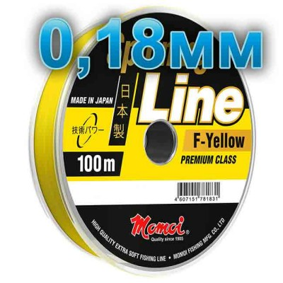 Fishing line Spinning Line F-Yellow; 0.18 mm; 4.0 kg test; length 100 m, article 00063700135, production Momoi Fishing (Япония)