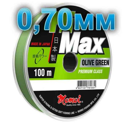 Hi-Max Olive Green fishing line; 0.70 mm; 40 kg test; length 100 m, from: Momoi Fishing (Япония)