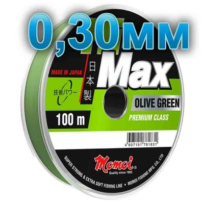 Hi-Max Olive Green fishing line; 0.30 mm; test 9.0 kg; length 100 m, from: Momoi Fishing (Япония)