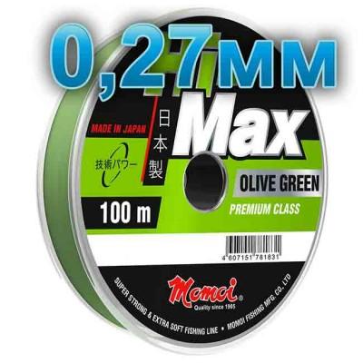 Hi-Max Olive Green fishing line; 0.27 mm; 7.5 kg test; length 100 m, from: Momoi Fishing (Япония)