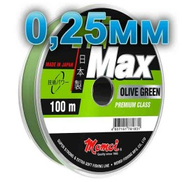Hi-Max Olive Green fishing line; 0.25 mm; 6.5 kg test; length 100 m