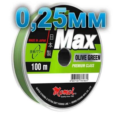 Hi-Max Olive Green fishing line; 0.25 mm; 6.5 kg test; length 100 m, article 00064200168, production Momoi Fishing (Япония)