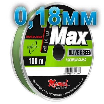 Hi-Max Olive Green fishing line; 0.18 mm; 3.5 kg test; length 100 m, from: Momoi Fishing (Япония)