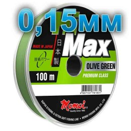 Hi-Max Olive Green fishing line; 0.15 mm; 2.5 kg test; length 100 m