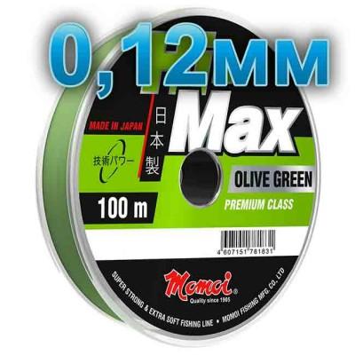 Hi-Max Olive Green fishing line; 0.12 mm; 1.6 kg test; length 100 m, article 00064200175, production Momoi Fishing (Япония)