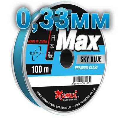 Hi-Max Sky Blue fishing line; 0.33 mm; 11 kg test; length 100 m, article 00064300155, production Momoi Fishing (Япония)