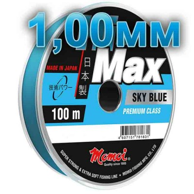 Hi-Max Sky Blue fishing line; 1,00 mm; 70 kg test; length 100 m, article 00064300163, production Momoi Fishing (Япония)