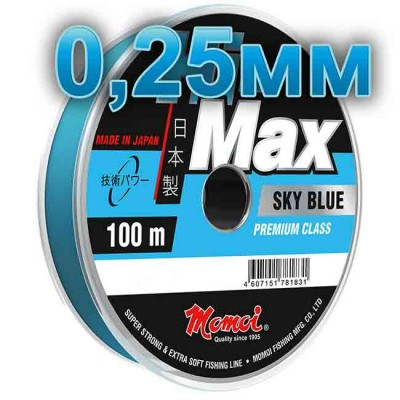 Hi-Max Sky Blue fishing line; 0.25 mm; 6.5 kg test; length 100 m, article 00064300168, production Momoi Fishing (Япония)